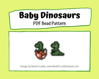 T-Rex Baby Dinosaur Brick Stitch Bead Pattern, Miyuki Delica Charms | Digital File