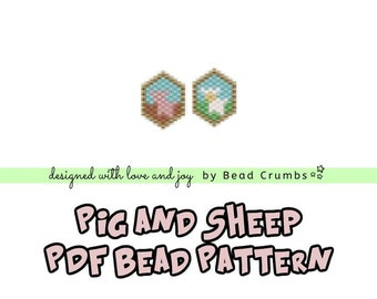 Brick Stitch Bead Patterns: Pig and Sheep Charms  PDF Digital Download