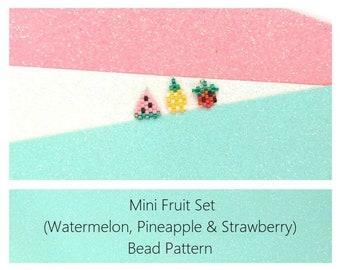 Brick Stich Fruits Beading Pattern : Mini Watermelon, Pineapple and Strawberry Charms | Miyuki Delica Beads 11/0