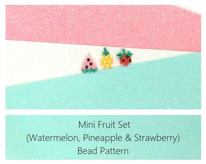 Brick Stich Fruits Beading Pattern : Mini Watermelon, Pineapple and Strawberry Charms   Miyuki Delica Beads 11/0