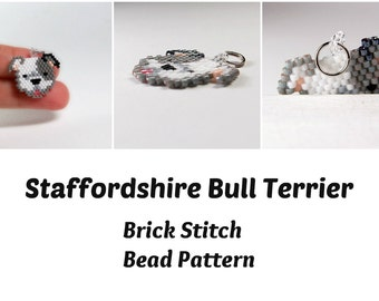 Staffordshire Bull Terrier, Seed Bead PATTERN, Brick Stitch Beadweaving
