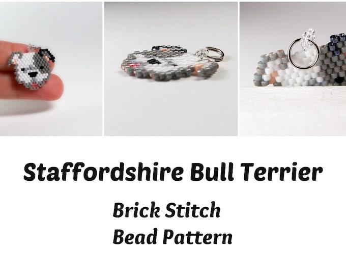 Staffordshire Bull Terrier, Seed Bead PATTERN, Brick Stitch Beadweaving