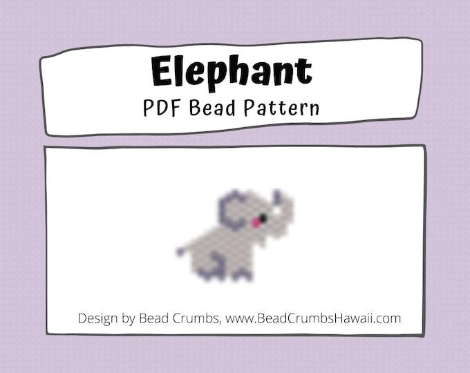 Brick Stitch Bead Pattern: Elephant Charm PDF Digital Download