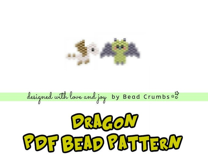 Dragon Patterns, Brick Stitch Fantasy Creature, Miyuki Delica Seed Beads, PDF Digital Download