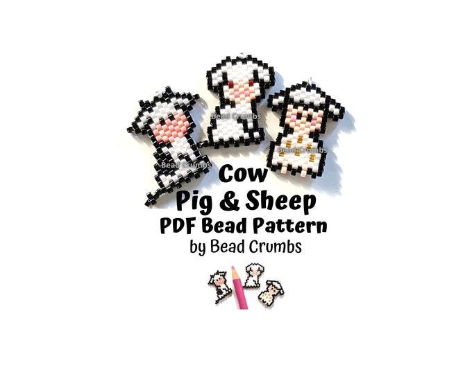 Cow Pig Sheep Brick Stitch Bead Pattern, PDF Digital Download