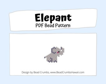 Brick Stitch Bead Pattern: Elephant Charm PDF Digital Download