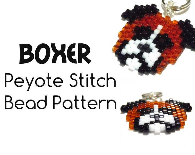 Boxer Dog Bead Patterns, Peyote / Brick Stitch Bead Weaving, Delica Bead Pattern | DIGITAL DOWNLOAD
