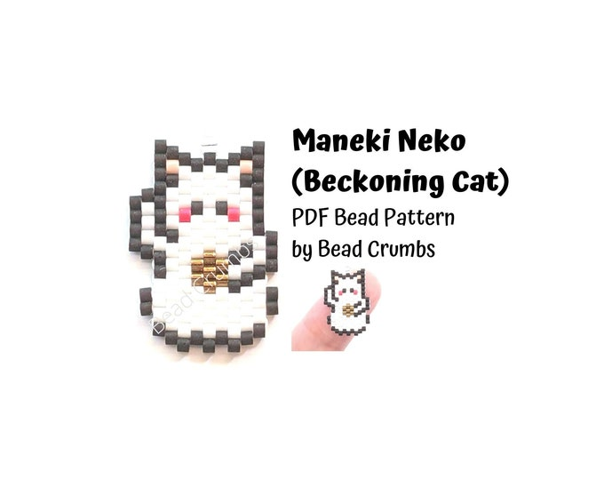 Brick Stitch Bead Pattern, Beckoning Cat Maneki Neko Good Luck Charm, PDF Digital Download