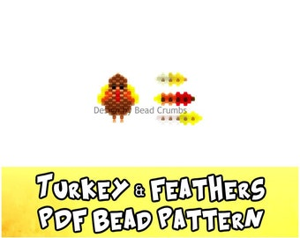 Bead Patterns Turkey and Feathers, Brick Stitch or Peyote Stitch Charms