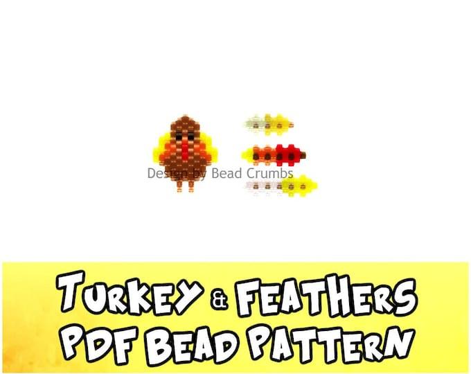 Bead Patterns Turkey and Feathers, Brick Stitch or Peyote Stitch Charms