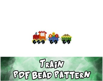 Brick Stitch Train Pattern, Miyuki Delica Beads, PDF Digital Download