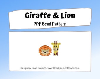 Bead Pattern Giraffe and Lion Brick Stitch Animal Charms, PDF Digital Pattern