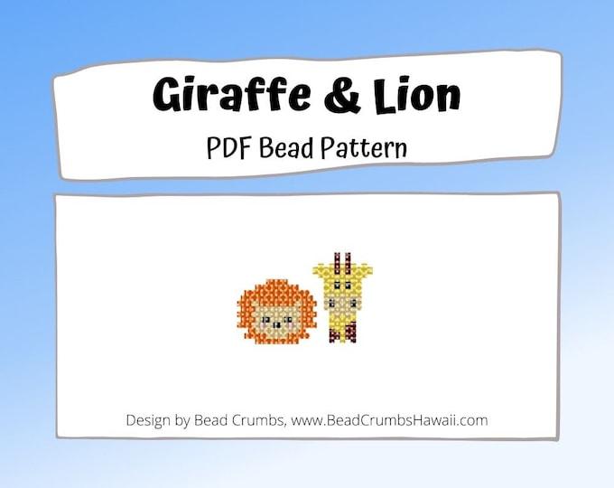 Bead Pattern Giraffe and Lion Brick Stitch Animal Charms, PDF Digital Pattern