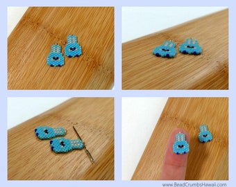 Seed Beads - Blue Easter Bunny Charms / Progress Keepers / Pendants / Earrings - Miyuki Delica Brick Stitch (1 pc)