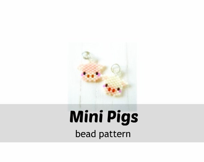 Bead Patterns Mini Pig Heads, Miyuki Seed Beads