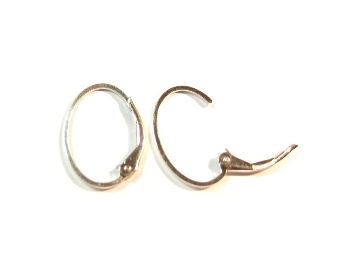 Sterling Silver Oval Leverback Interchangeable Earring Hoops (1 Pair)