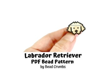 Brick Stitch Charm Pattern Labrador Retriever Dog, Miyuki Delica Beads, PDF Digital Download
