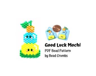 Brick Stitch Pattern Kawaii Mochi Pattern, Good Luck Charm