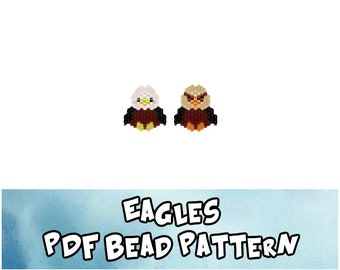 Eagle Seed Bead Patterns, Brick Stitch Beading, Miyuki Delica Beaded Birds, PDF Digital Download