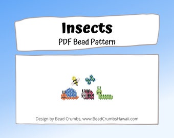 Bead Patterns Bee Butterfly Snail Ladybug Caterpillar Insects,  Animal Brick or Peyote Stitch Charm  | PDF Digital Download
