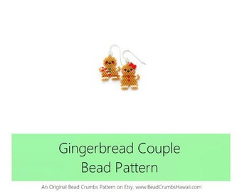 Christmas Gingerbread Couple, Brick Stitch Bead Pattern for Earrings,Pendants, Charms