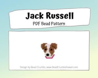 Jack Russell Terrier Brick/Peyote Stitch Dog Bead PATTERN, DIY Craft Seed Bead Charm, PDF Digital Download