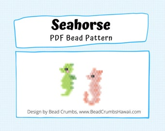 Mini Seahorse Brick Stitch Seed Bead Pattern, Beaded Charm - Earring - Pendant, PDF Digital Download