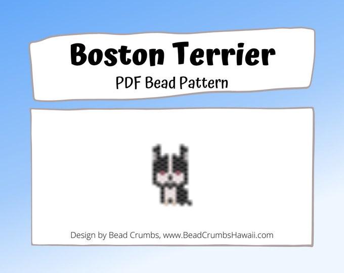 Mini Boston Terrier Brick Stitch Bead Pattern, Miyuki Seed Bead Dog, PDF Digital Download
