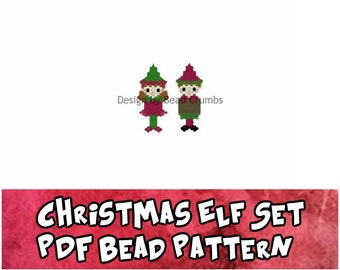 Christmas Elf Set Brick/Peyote Stitch Bead Pattern, Digital Download