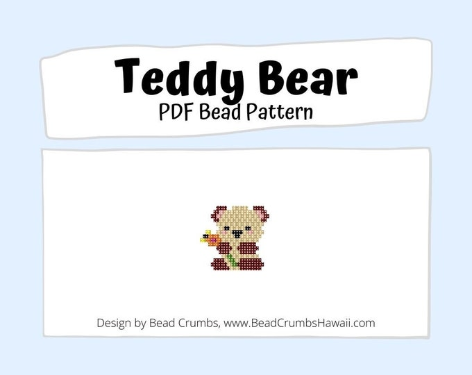 Brick Stitch Bead PATTERN, Teddy Bear Charm Jewelry Accessory, PDF Digital Download