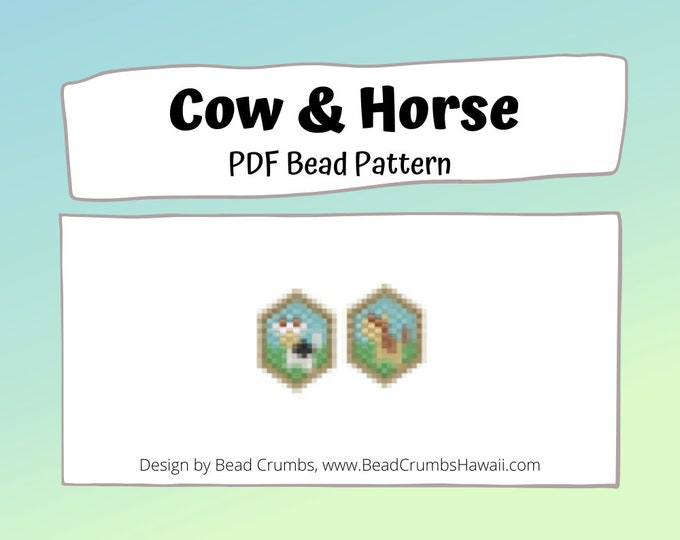 Brick Stitch Bead Patterns: Cow and Horse Charms PDF Digital Download