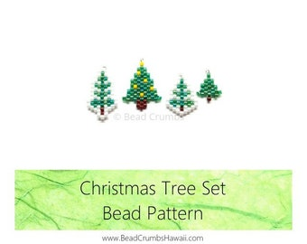 Brick Stitch Beading: Christmas Tree Pattern, Set of 4