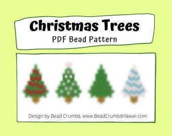 Bead Pattern Christmas Trees, Peyote or Brick Stitch Beading, Miyuki Charms - Digital Download
