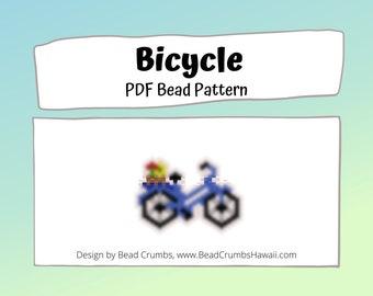 Bicycle Brick/Peyote Stitch Bead PATTERN, DIY Craft Seed Bead Charm, PDF Digital Download