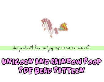 Brick Stitch Bead Patterns: Unicorn and Rainbow Poop PDF Digital Download
