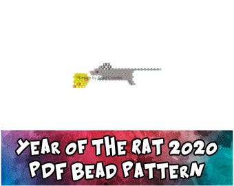 Bead Pattern 2020 Year of the Rat and Cheese, Brick / Peyote Stitch Beading