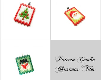 Christmas Tree, Santa Claus & Snowman Peyote Stitch Patterns| DIGITAL DOWNLOAD