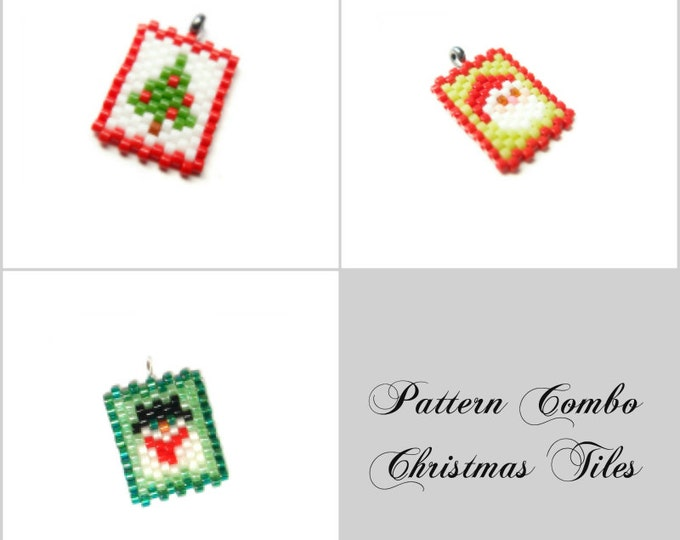 Christmas Tree, Santa Claus & Snowman Peyote Stitch Patterns| DIGITAL DOWNLOAD