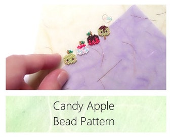 Brick Stitch Candy Apple Bead PATTERN | Printable Digital Download