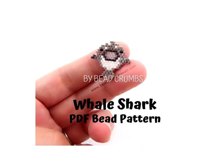 Bead Pattern Whale Shark, Brick Stitch Seed Bead Charms - Digital File