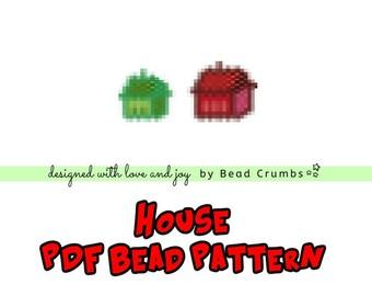 House Brick Stitch Bead Pattern, DIY Craft, PDF Digital Download