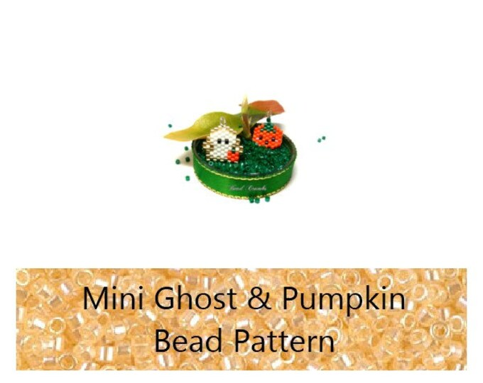 Brick Stitch Mini Ghost & Pumpkin Halloween Charms / Pendant / Earring Bead PATTERNS | Digital File