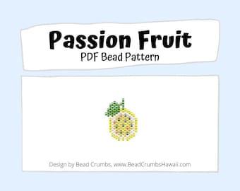 Beading PATTERN Brick Stitch Passion Fruit, Yellow Lilikoi Fruit, DIY Seed Bead Charm, PDF Digital Download
