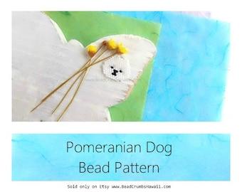 White Pomeranian Dog Brick Stitch Charm Bead Pattern
