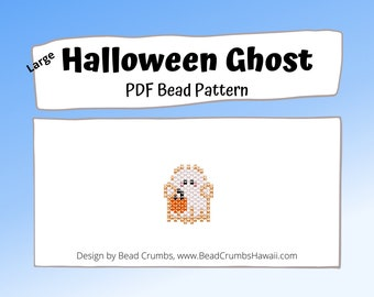 Bead Pattern Cute Halloween Ghost, Brick Stitch Charm, PDF Digital Pattern