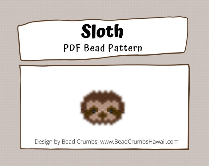 Sloth Bead Pattern, Peyote / Brick Stitch Beading - PDF Digital Download