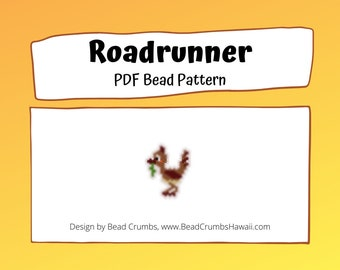 Roadrunner Bead Pattern, Brick or Peyote Stitch Beading, DIY Jewelry Charms/Notions for Knitting | Digital File