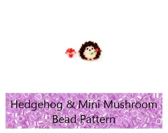 Brick Stitch Hedgehog & Mushroom Bead PATTERN | Printable Digital Download