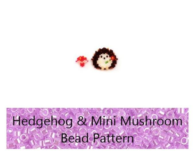 Brick Stitch Hedgehog & Mushroom Bead PATTERN   Printable Digital Download