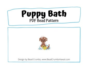 Bead Pattern Puppy Bath, Cute DIY Brick Stitch Animal Jewelry Charm, PDF Digital Download